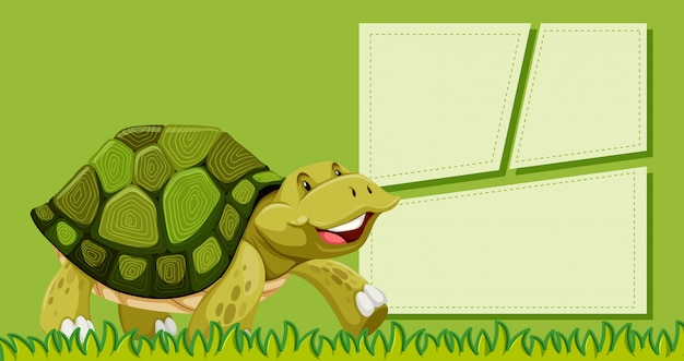 Una tartaruga su una nota vuota