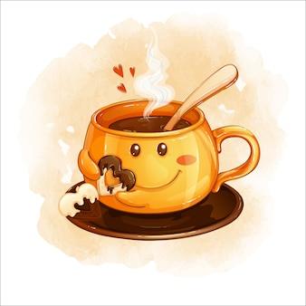 Una tazza di arancia sorridente con una bevanda calda detiene un biscotto a forma di cuore con cioccolato.