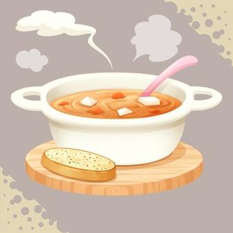 Una tazza di zuppa e vettore di pane all'aglio