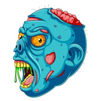 Una testa di zombie blu cartone animato