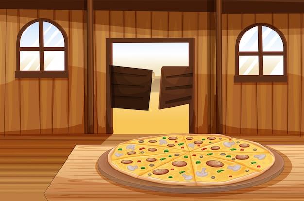 Una torta di pizza in tavola