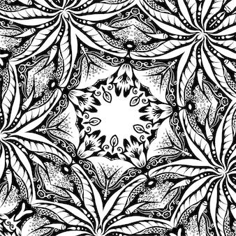 Una trama quadrata con foglie, illustrazione disegnata a mano