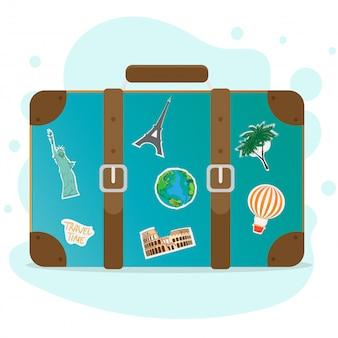 Una valigia da viaggio. bagaglio. viaggia con una valigia.