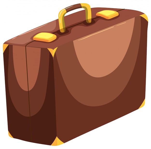 Una valigia su backgrounf bianco