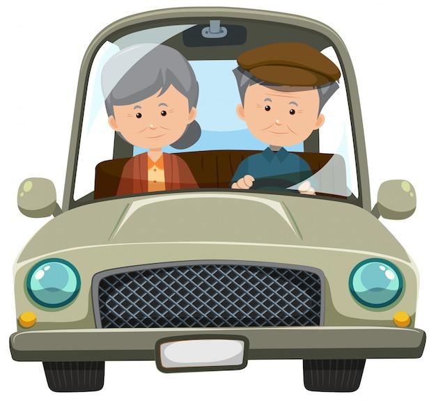 Una vecchia coppia alla guida di un'auto