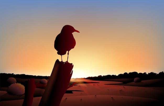 Una vista al tramonto del deserto con un grande uccello