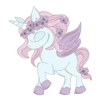 Unicorn fiaba romantico fumetto animale