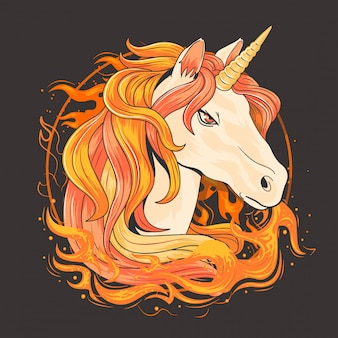 Unicorn fire horn vector