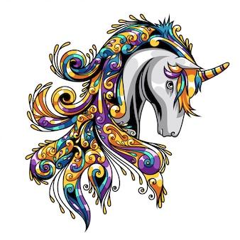 Unicorn ornament illustration e tshirt design premium vector