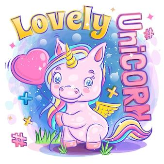 Unicorn smile sveglio con il pallone di amore della tenuta e l'illustrazione di amore di sensibilità