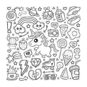 Unicorn world disegnati a mano doodle colore