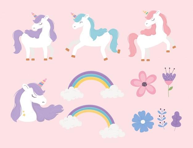 Unicorni arcobaleni fiori fantasia magica sogno simpatico cartone animato set rosa sfondo illustrazione