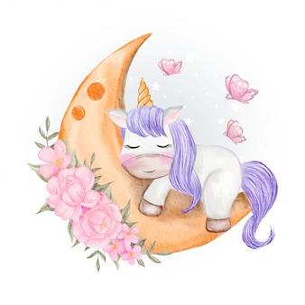 Unicorni bambino che dorme sulla luna con fiori e farfalle