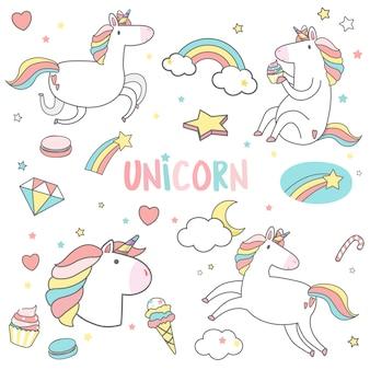 Unicorni carino con vettore di adesivi elemento magico