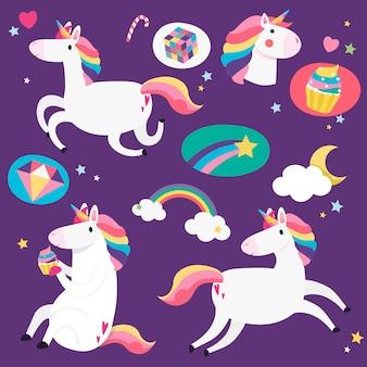 Unicorni carino con vettore di elementi magici