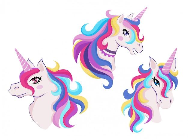 Unicorni magici con set di icone colorate corna e criniere, decorazioni per interni o compleanno di una ragazza, badge o adesivo,