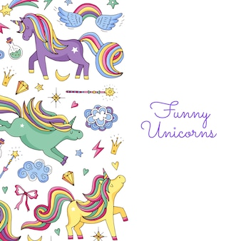 Unicorni magici disegnati a mano e sfondo di stelle con posto per testo