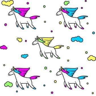 Unicorni magici tra le nuvole, modello senza soluzione di continuità per il tuo design