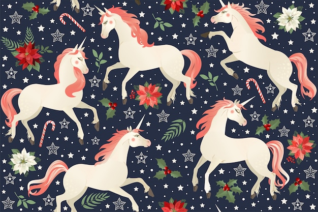 Unicorni su uno sfondo floreale di natale. modello senza soluzione di continuità