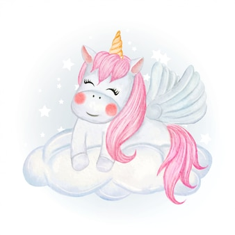Unicorni svegli che si siedono sull'illustrazione dell'acquerello delle nuvole