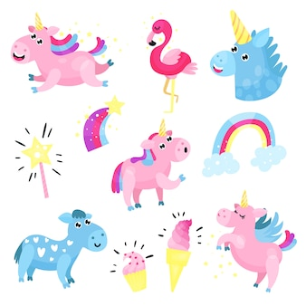 Unicorni svegli con set, raccolta con arcobaleno, nuvola, famingo, stelle cartoni animati illustrazioni