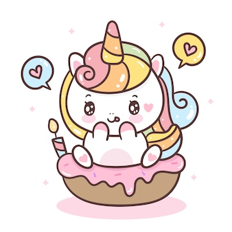 Unicornio carino su cupcake compleanno