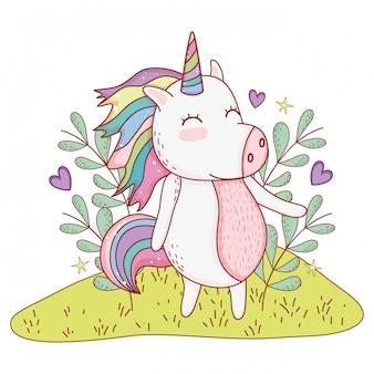 Unicorno a disegni naturalistici