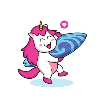 Unicorno amore surf cartoni animati