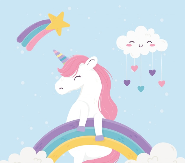 Unicorno arcobaleni nuvole cuori amore fantasia sogno magico illustrazione simpatico cartone animato