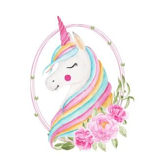 Unicorno arcobaleno acquerello con ghirlanda di fiori