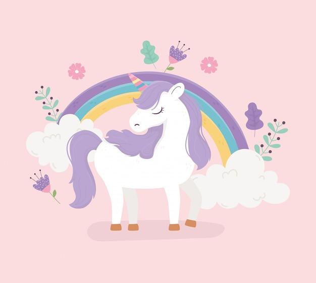 Unicorno arcobaleno fiori decorazione floreale fantasia magia sogno simpatico cartone animato rosa sfondo illustrazione