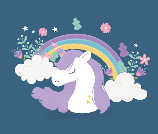 Unicorno arcobaleno nuvole fiori fantasia magica simpatico fumetto illustrazione
