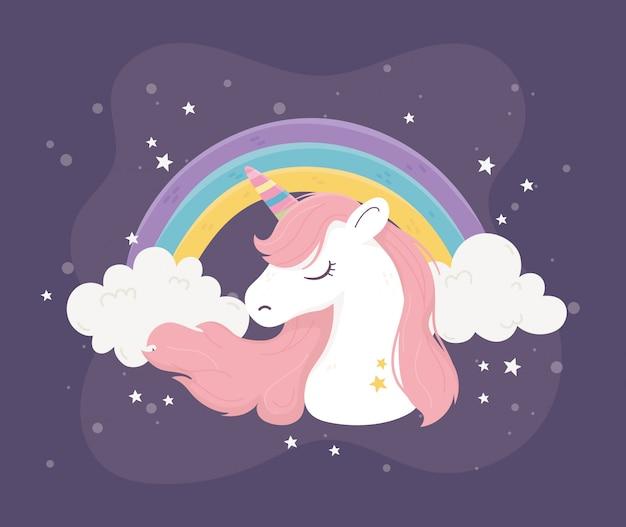 Unicorno arcobaleno nuvole stelle fantasia magia sogno simpatico cartone animato sfondo scuro illustrazione