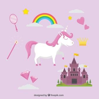 Unicorno bianco con elementi fiabe