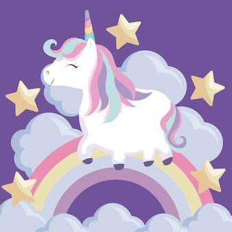 Unicorno carino con arcobaleno e nuvole