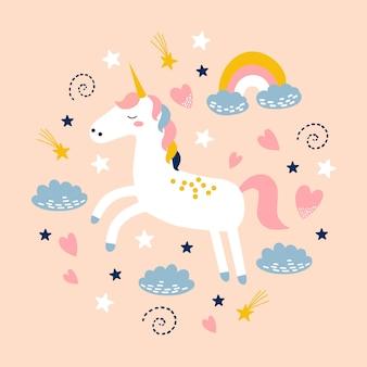 Unicorno carino con arcobaleno, nuvole e stelle.