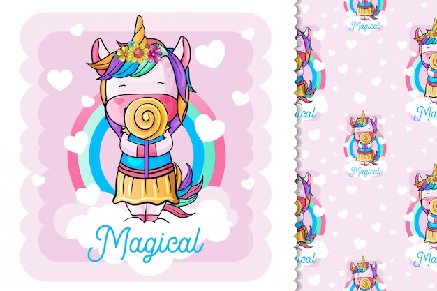 Unicorno carino con caramelle dolci