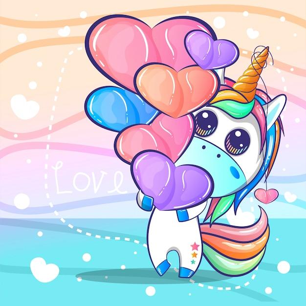 Unicorno carino con cartone animato di cuori
