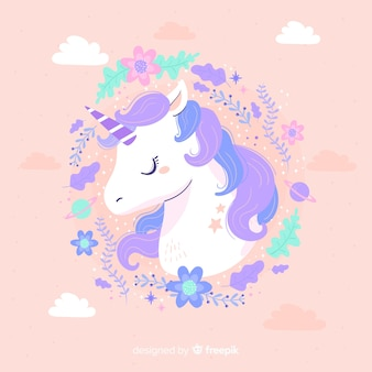 Unicorno carino con cornice color pastello
