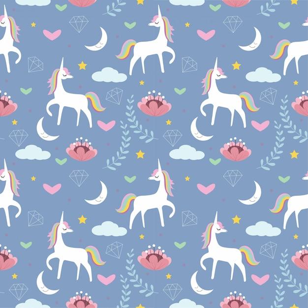 Unicorno carino con fiori, stelle, luna, diamante senza cuciture