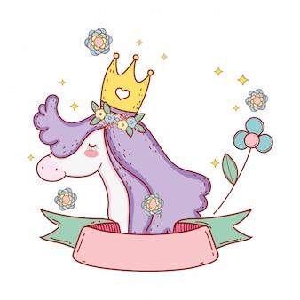 Unicorno carino con nastro e decorazione floreale