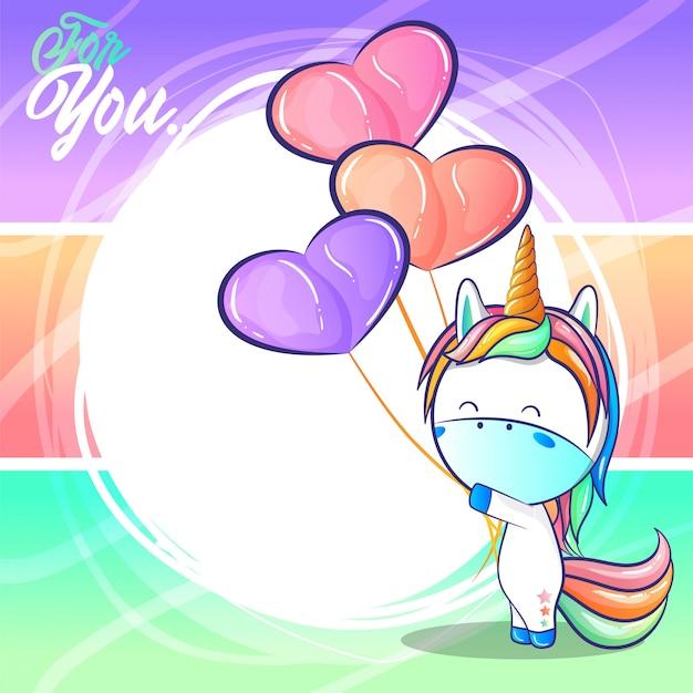 Unicorno carino con palloncini cuore