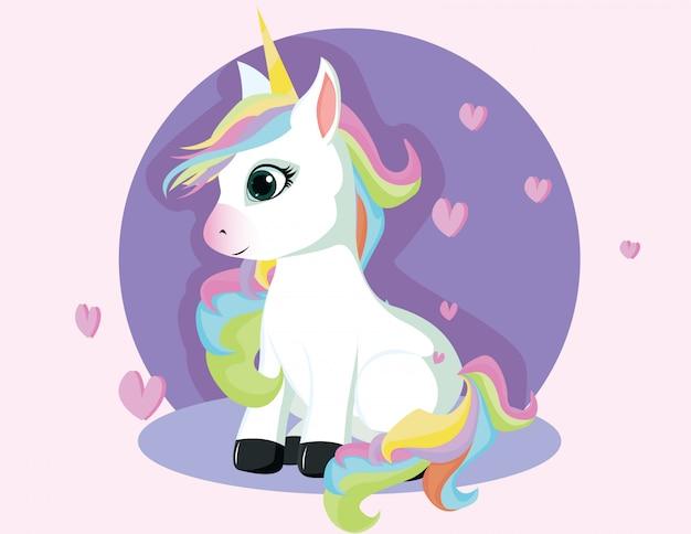 Unicorno carino con sedersi in posa