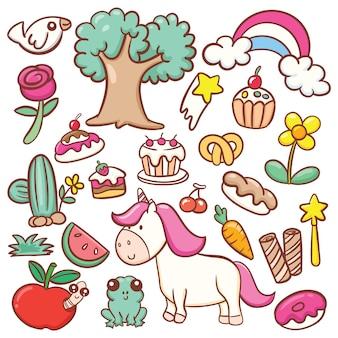 Unicorno carino con vari alimenti e oggetti doodle