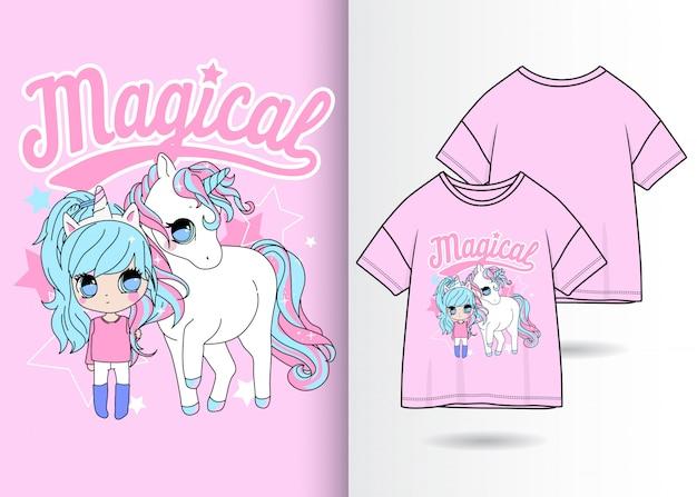 Unicorno carino disegnato a mano con la ragazza con la maglietta