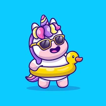 Unicorno carino estate con anatra di nuoto cartoon