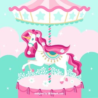 Unicorno carino in carosello