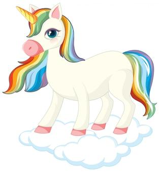 Unicorno carino in piedi sulla nuvola