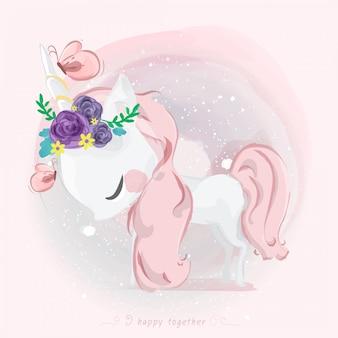 Unicorno carino in stile acquerello