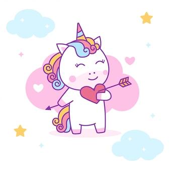 Unicorno carino innamorarsi